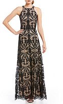 Jessica Howard Lace Halter Gown
