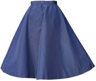 Jacques Fath Blue Silk Skirt for Women Vintage