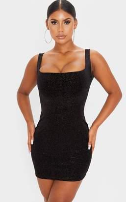 PrettyLittleThing Black Glitter Velvet Sleeveless Square Neck Bodycon Dress