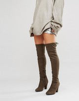 Call it SPRING Qeiven Khaki Sock Heeled Over The Knee boots