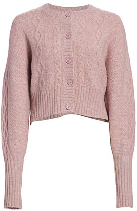 MUNTHE Joki Cable-Knit Cropped Cardigan Sweater