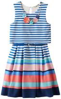 Knitworks Girls 7-16 Mixed Stripe Popover Skater Dress with Necklace