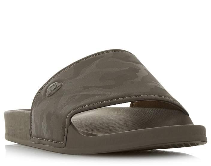 Dune - Khaki 'Heath' Camo Sliders Sandals
