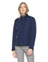 Royal Matrix Women's Quilted Padding Barn Jacket with Suede Piping Detail (Navy Extra Small)