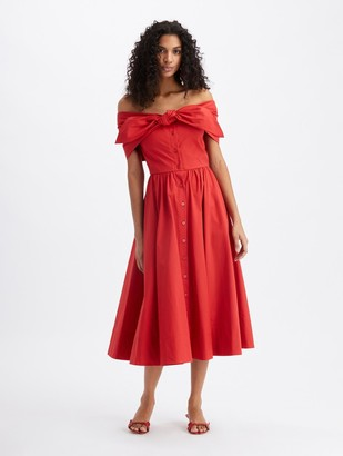 Oscar de la Renta Off Shoulder Tie Midi Dress