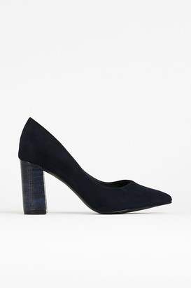 Wallis **WIDE FIT Navy Pointed Court Shoe