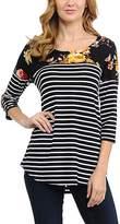 Magic Fit Black Floral Yoke Stripe Tunic