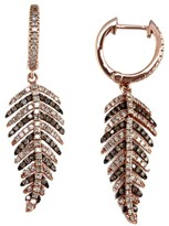 Effy Jewelry Effy Espresso 14K Rose Gold Cognac & White Diamond Leaf Earrings, 1.05 TCW