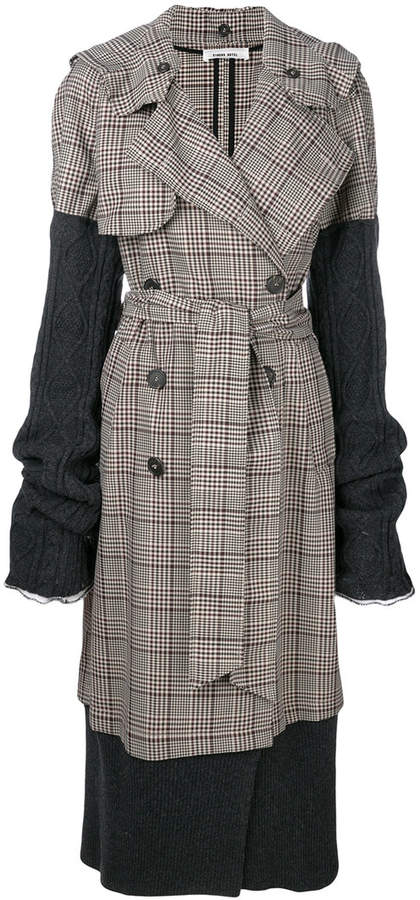 Circus Hotel dogtooth belted double breasted coat