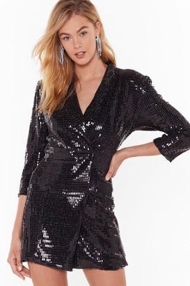 Nasty Gal Womens Blame It on the Boogie Sequin Blazer Dress - black - L