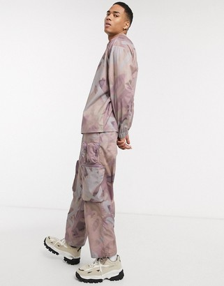 ASOS DESIGN co-ord wide leg pants with 3D pockets in spray paint print