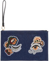 See by Chloe Blue Denim Embroidered Pouch