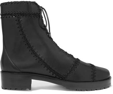 Alexandre Birman Whipstitched Leather Ankle Boots - Black