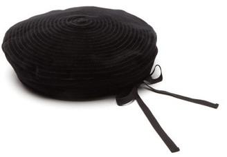 Gucci Leather Trimmed Spiral Stitch Suede Beret Hat - Mens - Black