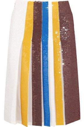 Emilio Pucci Pleated Sequined Silk Skirt