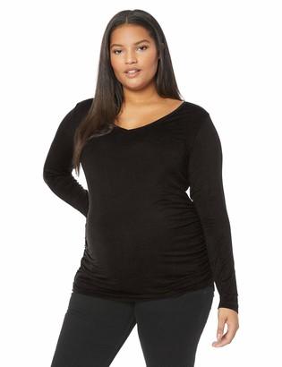 Motherhood Maternity Women's Maternity Plus-Size Long Sleeve V-Neck Side Ruched Tee Shirt