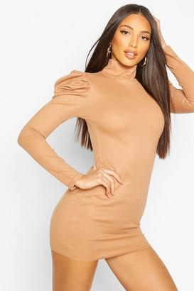 boohoo Ribbed High Neck Puff Sleeve Mini Dress