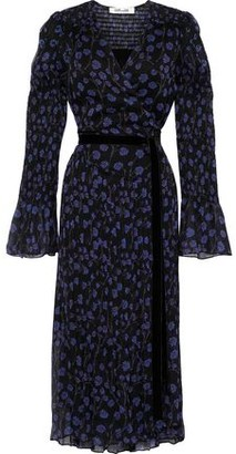 Diane von Furstenberg Ani Shirred Floral-print Silk-georgette Midi Wrap Dress
