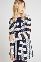 BCBGeneration Striped Lace Trench - Blue