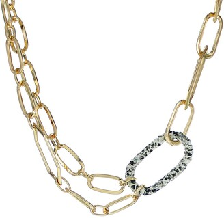 Panacea Snakeskin Embossed Link Layered Chain Necklace