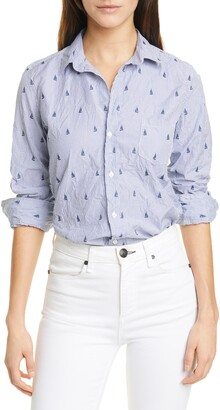 Frank And Eileen Barry Stripe Signature Crinkle Cotton Shirt