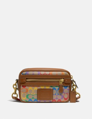 Coach Academy Crossbody In Rainbow Signature Canvas