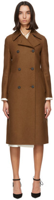 Harris Wharf London Brown Pressed Wool Military Coat