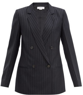Victoria Beckham Double-breasted Pinstriped Wool Jacket - Navy Multi