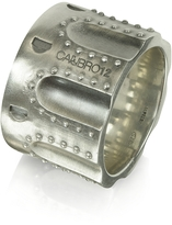Forzieri Calibro12 Revolver Stud Burnished Sterling Silver Ring w/Chain