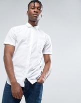 BOSS ORANGE by Hugo Boss Short Sleeve Shirt Slim Fit in White