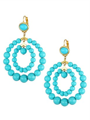 Kenneth Jay Lane 22K Yellow Goldplated & Turquoise Bead Double Circle Drop Earrings