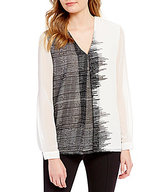 Calvin Klein Printed Chiffon Inverted Front Pleat Top