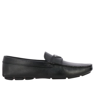 Prada Drive Loafer In Saffiano Leather With Triangular Logo