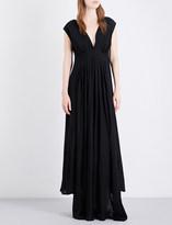 Ann Demeulemeester Pleated asymmetric-hem twill gown