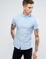 Asos Skinny Casual Oxford Shirt In Blue