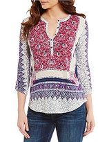Lucky Brand Long Sleeve Border Floral Print Knit Henley