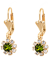 Sweet & Soft Swarovski® Crystal & Green Flower Huggie Earrings