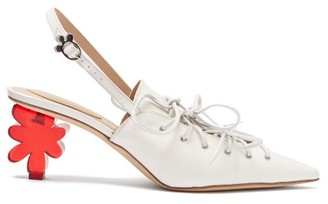 Simone Rocha Flower-heel Leather Slingback Pumps - Womens - White