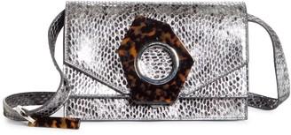 Ganni Snake Embossed Leather Flap Crossbody Bag