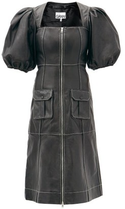 Ganni Puff-sleeved Zipped Leather Midi Dress - Black