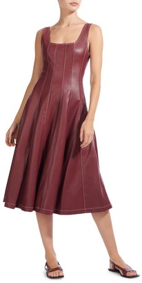 STAUD Wells Squareneck Faux-Leather Midi Dress