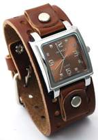 Nemesis #BB516B Men's Wide Leather Cuff Band Analog Dial Watch
