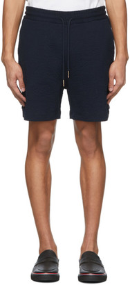 Thom Browne Navy Cotton Seersucker Shorts