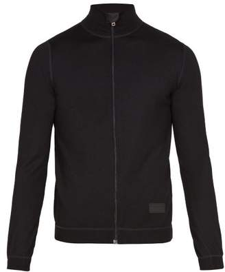 Prada Zip-through Wool Sweater - Mens - Black