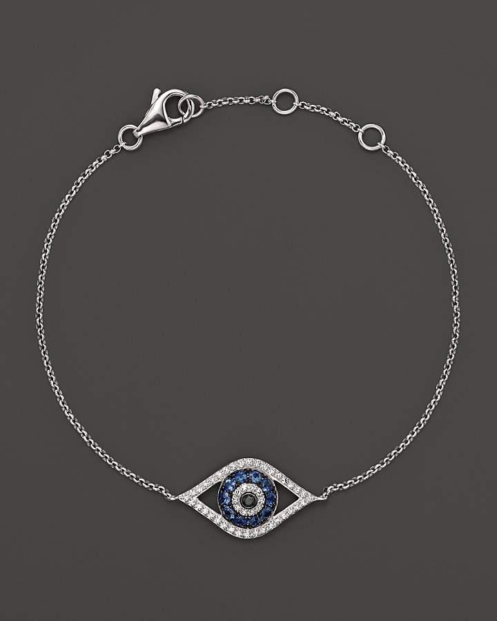 Bloomingdale's Diamond and Sapphire Evil Eye Bracelet in 14K White Gold