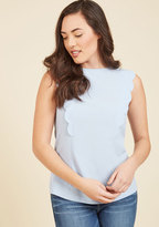 Scallop to Date Sleeveless Top in Sky in 14 (UK)