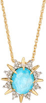 Alexis Bittar Spiked Crystal Doublet Pendant Necklace, Gold/Turquoise