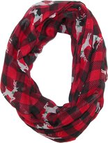 David & Young Women's Buffalo Plaid Holiday Infinity Loop Scarf with Reindeer