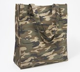 Quilted Koala Camo Printed Canvas Upright Tote with PomPoms