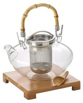 Bonjour Zen Glass Teapot w/ Stainless Steel InfuserBamboo Stand and Scoop (42 oz)
